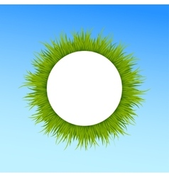 Green grass round frame on blue sky background vector image vector image