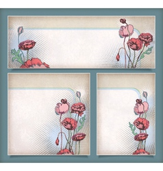 Vintage flower banners in different layout set vector image