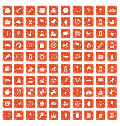 100 child center icons set grunge orange vector image