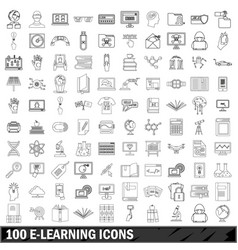100 e-leaning icons set outline style vector