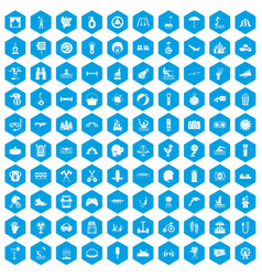 100 summer vacation icons set blue vector