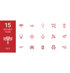 15 fly icons vector image