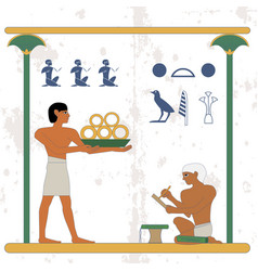 Ancient egypt background servant with gold and vector