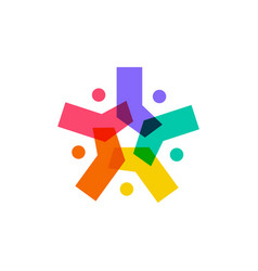 Asterisk people diversity family group team vector