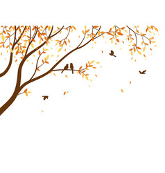 autumn season with falling leaves with bird vector image