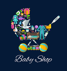 Baby shop toys newborn kid clothes and care vector