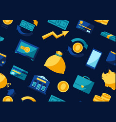 banking seamless pattern with money icons vector image