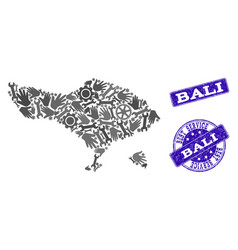 Best service composition of map of bali island and vector