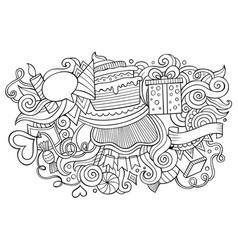 birthday hand drawn cartoon doodles vector image