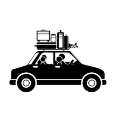 Black silhouette family car with baggage vector