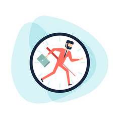 businessman running away in clock control time vector image