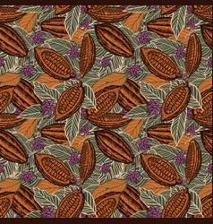 cacao beans seamless pattern vector image