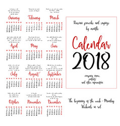Calendar grid for 2018 year by months vector