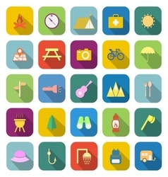 Camping color icons with long shadow vector