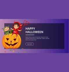cartoon kids sitting on halloween pumpkin poster vector image