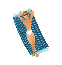 Cartoon man sunbathing lying at mattress vector