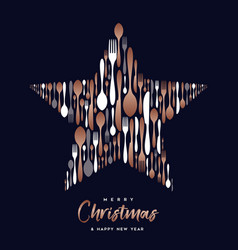Christmas and new year copper cutlery star card vector