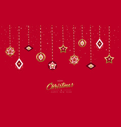 Christmas and new year gold holiday bauble card vector