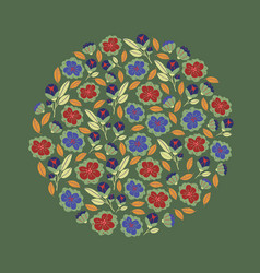Circle with spring flowers in bloom vector