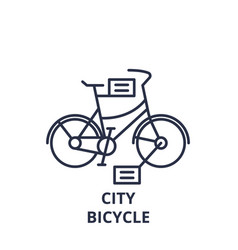 city bicycle line icon concept city bicycle vector image