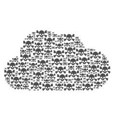 cloud mosaic of skull crossbones icons vector image