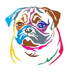 Colorful decorative portrait dog pug vector