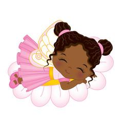 Cute african american fairy sleeping on flower vector