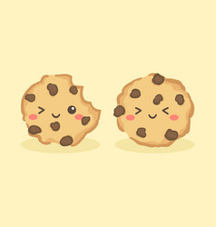 Cute choco chip cookies cartoon vector