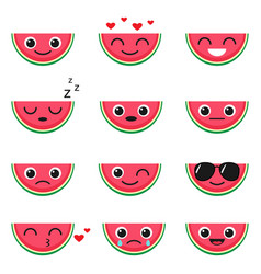 cute watermelon emoji set vector image