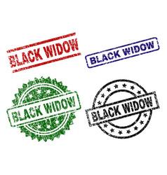 Damaged textured black widow stamp seals vector