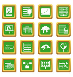 Database icons set green vector