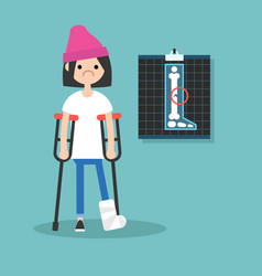 Disabled brunette girl on crutches with broken vector