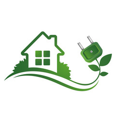 Eco house and electric plug vector