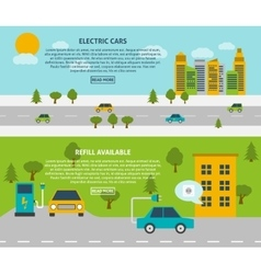 Electric car banner set vector