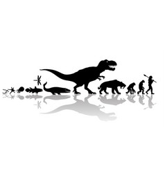 evolution of life on earth silhouette with vector image