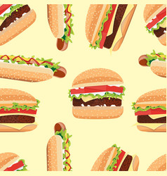 Fast food seamless pattern hamburger and hot dog vector