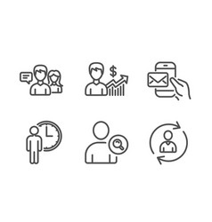 Find user people talking and waiting icons set vector