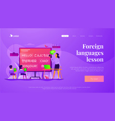 Foreign languages landing page template vector