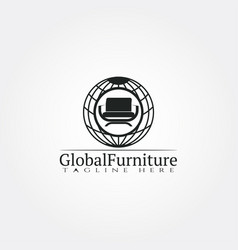 Furniture logo templateglobe and seat icon vector