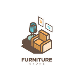 furniture store logo vector image