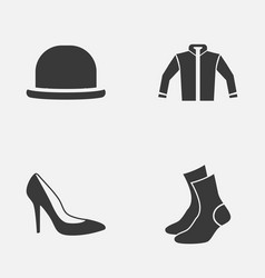 Garment icons set collection heel footwear vector