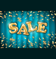 gold sale balloons background on blue curtain vector image