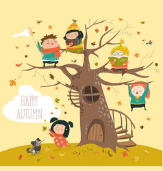 Happy children sitting on tree in autumn park vector