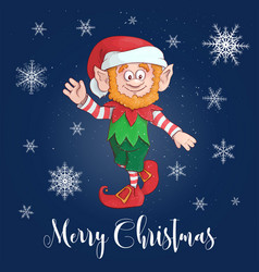 happy merry christmas cartoon elf character vector image