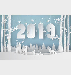 Happy new year and winter season vector