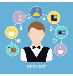 Hotel room service vector image