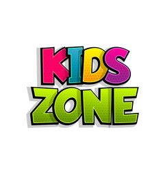 kids zone comic text badge on splash sticker vector image