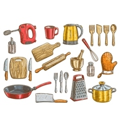 Kitchenware utensil and appliances elements vector image