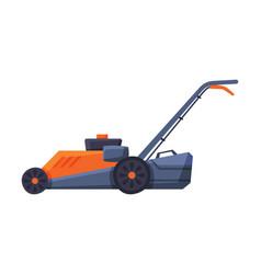 lawn mower garden machine flat style vector image