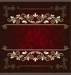 Luxurious gold pattern frame on a dark burgundy vector